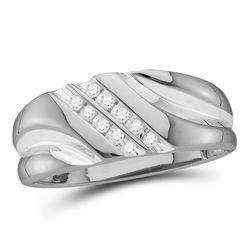Mens Diamond Wedding Band Ring 1/8 Cttw 14kt White Gold