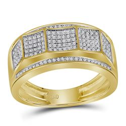 Mens Round Pave-set Diamond Faceted Cluster Band Ring 1/3 Cttw 10kt Yellow Gold