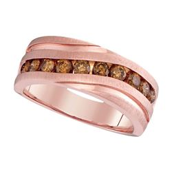 Mens Diamond Wedding Single Row Grooved Band Ring 1.00 Cttw 10kt Rose Gold