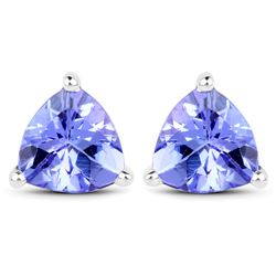 1.50 ctw Tanzanite Earrings 14K White Gold - REF-41F4W