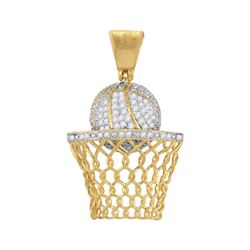 Mens Diamond Basketball Hoop Net Charm Pendant 3/4 Cttw 10kt Yellow Gold