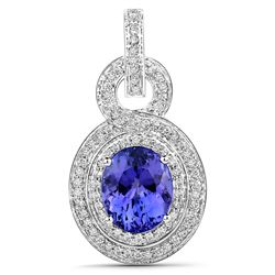 6.08 ctw Tanzanite & Diamond Pendant 14K White Gold - REF-389A6M