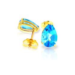 Genuine 3.15 ctw Blue Topaz Earrings 14KT Yellow Gold - REF-21K2V