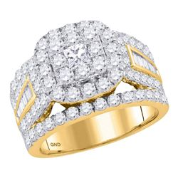 Diamond Solitaire Halo Bridal Wedding Engagement Ring 3.00 Cttw 14kt Yellow Gold