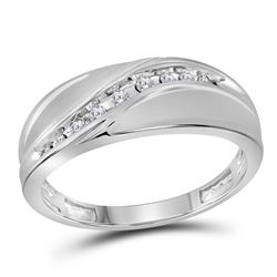 Mens Diamond Single Row Fashion Band Ring 1/8 Cttw 10kt White Gold