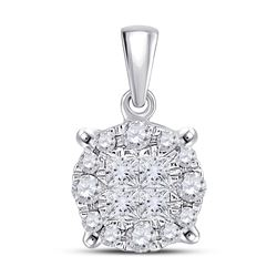 Diamond Fashion Cluster Pendant 1/4 Cttw 14kt White Gold