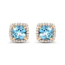 1.58 ctw Swiss Blue Topaz & Diamond Earrings 14K Yellow Gold - REF-37X2Y