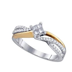Diamond Cluster Bridal Wedding Engagement Ring 1/4 Cttw 14kt Two-tone Gold