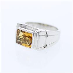 3.07 CTW Citrine & Princess Diamond Ring 14K White Gold - REF-56F2N