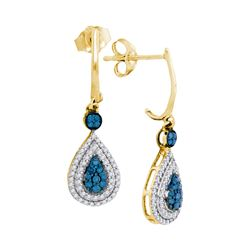 Round Blue Color Enhanced Diamond Teardrop Dangle Earrings 1/2 Cttw 10kt Yellow Gold