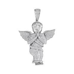 Mens Diamond Angel Cherub Charm Pendant 1.00 Cttw 10kt White Gold