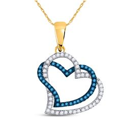 Round Blue Color Enhanced Diamond Joined Double Hearts Pendant 1/5 Cttw 10kt Yellow Gold