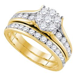 Diamond Flower Cluster Bridal Wedding Engagement Ring Band Set 1-1/2 Cttw 14kt Yellow Gold