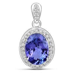 3.83 ctw Tanzanite & Diamond Pendant 14K White Gold - REF-177X2Y