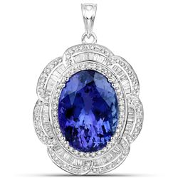 27.91 ctw Tanzanite & Diamond Pendant 18K White Gold - REF-2287M2R