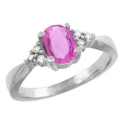 1.06 CTW Pink Sapphire & Diamond Ring 14K White Gold - REF-36H3M