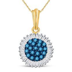 Round Blue Color Enhanced Diamond Cluster Pendant 1/2 Cttw 10kt Yellow Gold