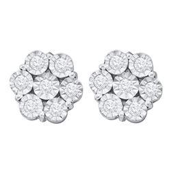 Round Illusion-set Diamond Flower Cluster Earrings 1.00 Cttw 10kt White Gold