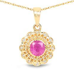 0.59 ctw Ruby & White Diamond Pendant 14K Yellow Gold - REF-33M2F