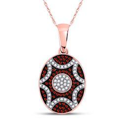 Round Red Color Enhanced Diamond Oval Starburst Pendant 1/3 Cttw 10kt Rose Gold