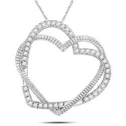 Diamond Double Intertwined Heart Pendant 1/8 Cttw 10kt White Gold