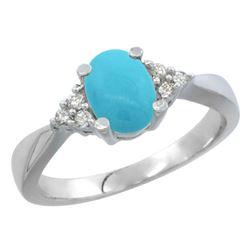 1.06 CTW Turquoise & Diamond Ring 10K White Gold - REF-29N7Y