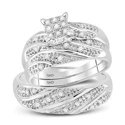 Diamond Cluster Mens Matching Trio Wedding Engagement Bridal Ring Set 1/4 Cttw 10k White Gold