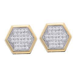Diamond Hexagon Cluster Earrings 1/5 Cttw 10kt Yellow Gold