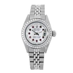 Rolex Pre-owned 26mm Womens Custom String White MOP Stainless Steel - REF-480H3N