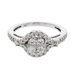 0.56 CTW Diamond Ring 14K White Gold - REF-64K4W