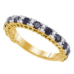 Round Black Color Enhanced Diamond Wedding Band Ring 1.00 Cttw 10kt Yellow Gold
