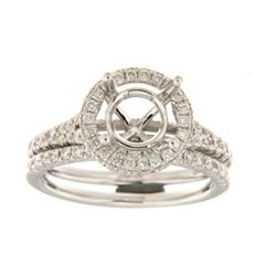 0.88 CTW Diamond Wedding Ring Set 14K White Gold - REF-111Y3X