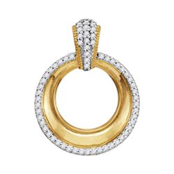 Diamond Framed Outline Circle Pendant 1/6 Cttw 10kt Yellow Gold