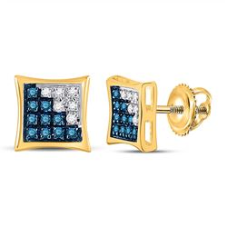 Mens Round Blue Color Enhanced Diamond Square Kite Cluster Earrings 1/10 Cttw 10kt Yellow Gold