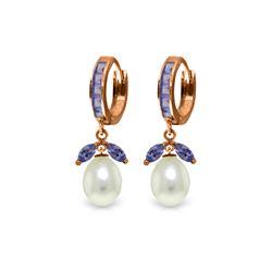 Genuine 10.30 ctw Tanzanite & Pearl Earrings 14KT Rose Gold - REF-71Y3F