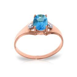 Genuine 0.76 ctw Blue Topaz & Diamond Ring 14KT Rose Gold - REF-20F8Z