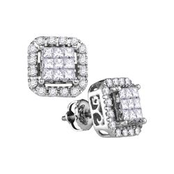 Diamond Square Frame Cluster Stud Earrings 1.00 Cttw 14kt White Gold