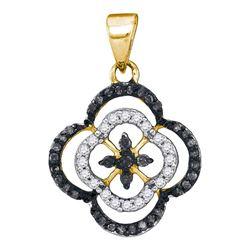 Round Black Color Enhanced Diamond Quatrefoil Cluster Pendant 1/4 Cttw 10kt Yellow Gold