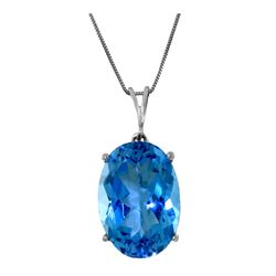 Genuine 8 ctw Blue Topaz Necklace 14KT White Gold - REF-36K3V