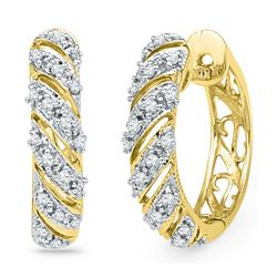 Diamond Diagonal Stripe Hoop Earrings 1/6 Cttw 10kt Yellow Gold