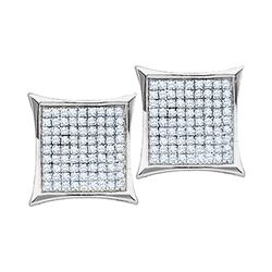 Diamond Square Kite Cluster Earrings 1/10 Cttw 10kt White Gold