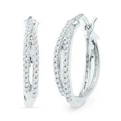 Diamond Double Row Hoop Earrings 1/4 Cttw 10kt White Gold