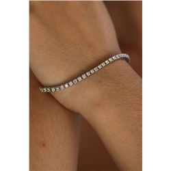 Natural 3.27 ctw Diamond Eternity Tennis Bracelet 14K White Gold - REF-281Y3Z