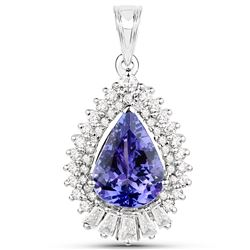 3.18 ctw Tanzanite & Diamond Pendant 14K White Gold - REF-174M8R