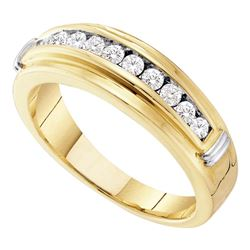 Mens Round Channel-set Diamond Single Row Wedding Band 1/2 Cttw 14kt Yellow Two-tone Gold