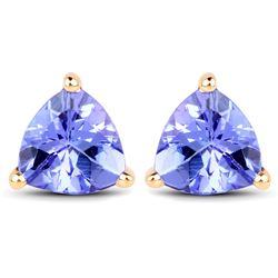 1.50 ctw Tanzanite Earrings 14K Yellow Gold - REF-41A4M