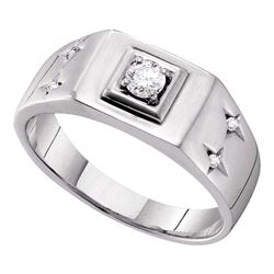 Mens Diamond Solitaire Accent Ring 1/4 Cttw 14kt White Gold