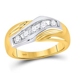 Mens Diamond Wedding Band Ring 1/2 Cttw 14kt Two-tone Gold