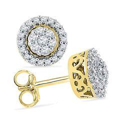 Diamond Flower Cluster Earrings 1/4 Cttw 10kt Yellow Gold