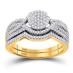 Diamond Cluster Bridal Wedding Engagement Ring Band Set 1/2 Cttw 10kt Rose Gold